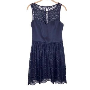 Guess Woman's Blue Lace Overlay cocktail Dress